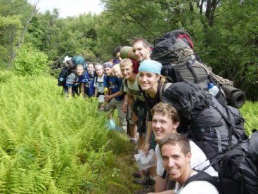 Backpackers on a trail