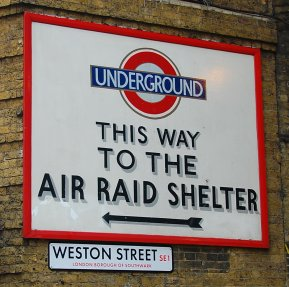 sign for air raid shelter in london