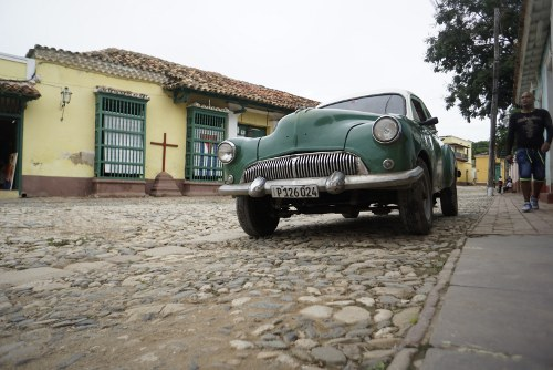 classic car parked in Cuba
