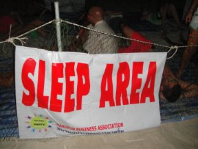 sign for the sleep area at the Thailand Full Moon Party