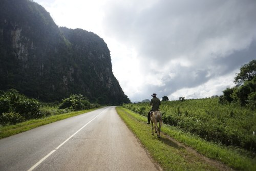 a man riding a horse on road in Cuba