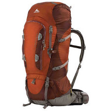 an orange travel backpack
