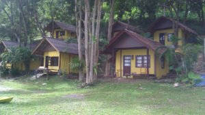 A row of bungalow guesthouses in Thailand