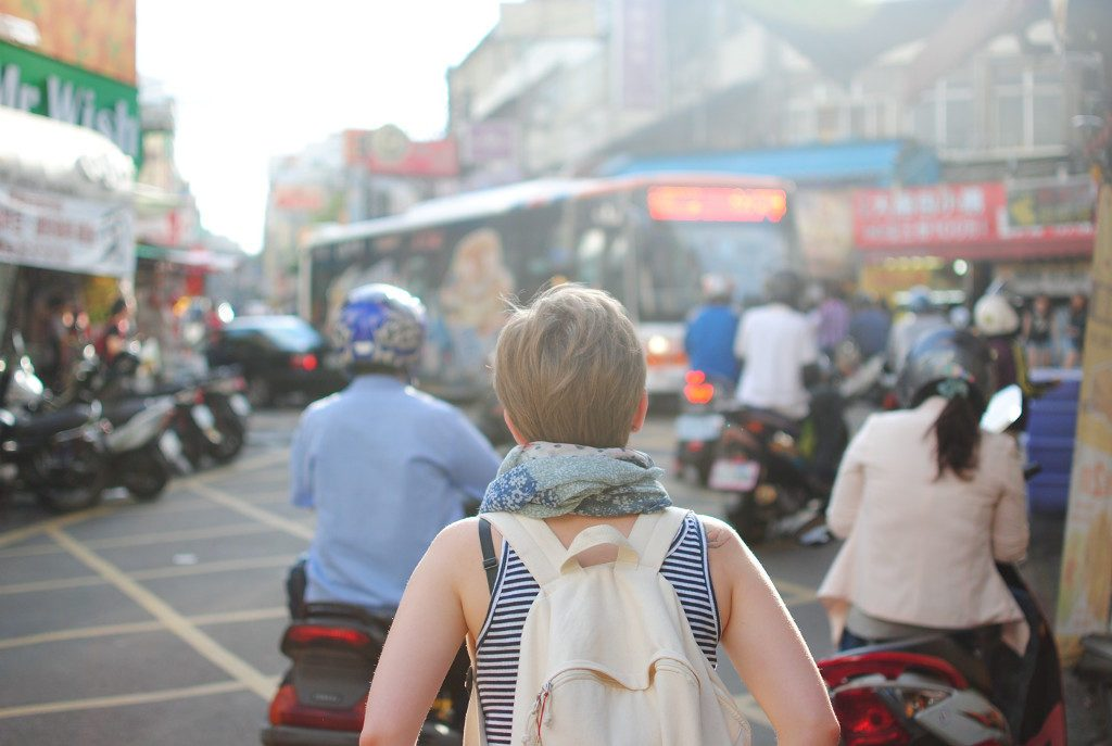 Backpacking Traveler on street