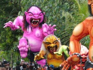 demon effigies during Nyepi in Bali