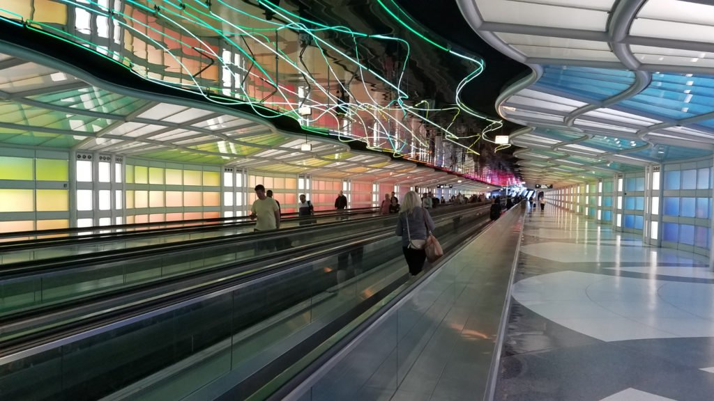 Walking through the Chicago airport
