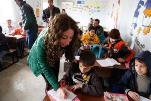 English teacher in Lebanese classroom