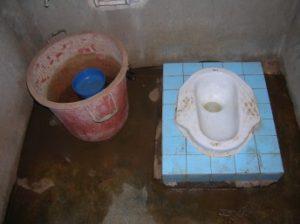 A dirty squat toilet